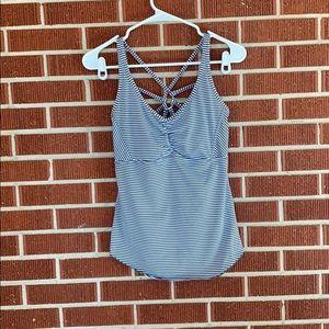 PrAna Dreaming Tank Top Bra Striped Yoga Gym -Grey